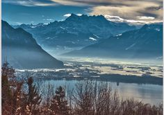 "Izakigur posted a photo:  Golden Pass Express , a view from the window...Paysage hivernal vaudois. Les Dents du Midi ...ü!  Wellcome to Wallis no.7213.  The Dents du Midi (French: ""teeth of noon"")[3] are a multi-summited mountain situated in the Chablais Alps in the Swiss canton of Valais. They are composed of seven distinct summits and reach a height of 3257 metres (10,686 feet). Highest mountain between Lake Geneva and the Mont Blanc Massif, they dominate the Val-d'Illiez and the Rhône…"