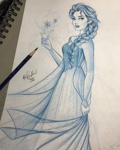 I almost forgot about Elsa 😱 I ended up dropping this to work on Ariel but the more I looked at it the more I imagined how sparkly she could be 😍✨ I definitely need to tweak several things, but I may be dipping my hands back into the prismacolor waters sooner than I thought ❄️
