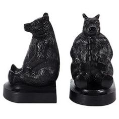 "Add a whimsical touch to your desktop or shelf with this bookend set, showcasing artful bear silhouettes.   Product: Set of 2 bookendsConstruction Material: ResinColor: BlackDimensions: 7"" H x 4.5"" W x 4"" D eachCleaning and Care: Wipe clean with damp cloth"