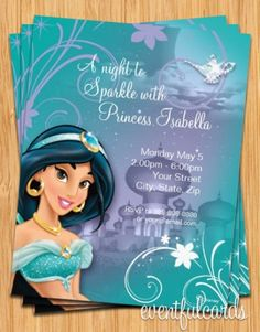 Jasmine Birthday Party Invitations Princess Kids Aladdin
