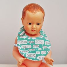 bavoir bébé bio word bubble coton biologique baby bib organic fabric