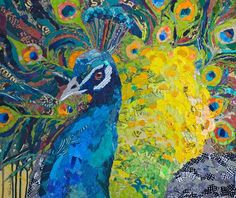 size: Stretched Canvas Print: Poised Peacock : Using advanced technology, we print the image directly onto canvas, stretch it onto support bars, and finish it with hand-painted edges and a protective coating. Peacock Painting, Peacock Art, Peacock Canvas, Indian Peacock, Find Art, Robin, Peacock Photos, Collage Artists, Painting Edges