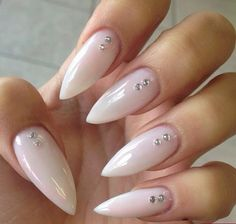 Clear white gel nail design