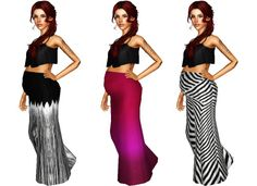 """baehaved: """" Laude studio Maternity Enabled Maxi Skirts&Sunny Cropped Top I learned a thing! All 3 skirt variations are included! Skirt mesh by Laude Studio and top mesh by Sunny CC and I wasn't sure if someone already enabled the top for maternity..."""