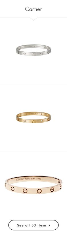 """Cartier"" by meakadiva ❤ liked on Polyvore featuring jewelry, bracelets, accessories, cartier, white jewelry, yellow jewelry, white gold bangle, white gold jewelry, studded jewelry and diamonds"