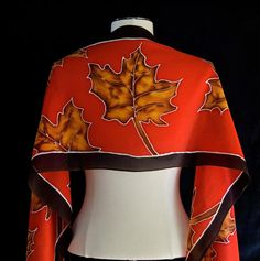 Silk scarf hand painted autumn maple leaves by FantasticPheasant