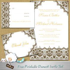 Free Chocolate Brown Damask Wedding Invitation Set