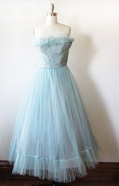 vintage 50s party dress / blue tulle gown / prom dress