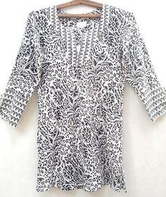 Boho chic Anokhi Black Dacca Floral Block Print Indian Cotton Bias Tunic Top