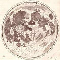 "Hevelius made extraordinarily detailed drawings of the Moon. This drawing of the full Moon from his 1647 atlas of the Moon, the Selenographia, shows craters, slopes, and plains. Hevelius named 286 craters, mountains, and ""seas,"" but his names were long and cumbersome, and only 10 are still used today."