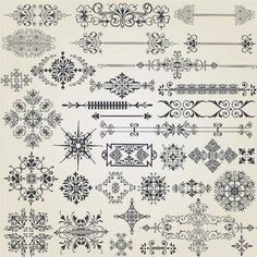 ヨーロピアンクラシック・ヴィンテージデザイン・ベクターパーツ詰め合わせ。 飾り枠、飾り罫、コーナー、その他装飾  Vintage-Design-Elements2 &……