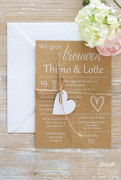 Kraft trouwkaart met hartje - Thimo & Lotte