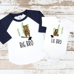 Items similar to Big Brother Little Brother Matching Forest Bear Shirts Little Brother Bear Big Brother Bear Shirt Forest Bear Matching Sibling Shirts on Etsy Big Brother Little Brother, Brother Bear, Little Boy Outfits, Baby Boy Outfits, Sibling Shirts, Body Suit Outfits, Newborn Outfits, Baby Crafts, T Shirts For Women
