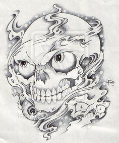 Smoke-And-Skull-Tattoo-Flash.jpg (400×484)