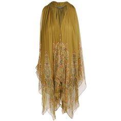 ALEXANDER MCQUEEN Printed silk chiffon handkerchief top found on Polyvore