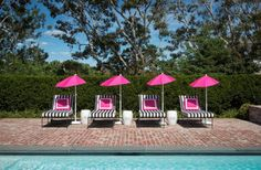 Patrick Ahearn, black and white stripe pool chairs with pink umbrellas Outdoor Rooms, Outdoor Living, Outdoor Decor, Outdoor Showers, Outdoor Fun, Pool Umbrellas, Architecture Design, Pink Umbrella, Pool Furniture