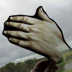 Antique Stained, Enamel Glass Window Panel of Human Hand