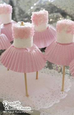 "Look at this Sissy-""ballerina"" marshmellows with cupcake cup skirt-can you say baby shower"