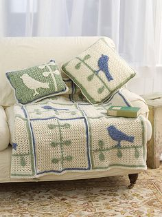 Ravelry: Bird on Branch Throw With Pillows pattern by Michele Wilcox