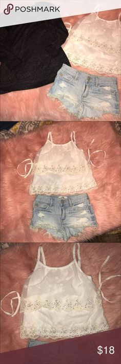 Girls 10/12 bundle of 3 ABERCROMBIE SHORTS: size 10/12 (say 14 but run small/slimmer than n actual 14-my girls were a 14 n these were too small) CHARCOAL SWEATSHIRT: size 10/12 (says 14/16-runs smaller) WHITE BACK TIE LACE CROP TOP/tank w/crystals: size 12 Whole outfit overall, wld fit 10/12 best!! Adorable outfits!!! Cute paired w/white converse or sandals.  BUNDLE W/others to save $!!! Need to get rid of everything!! No flaws, no holes or stains!! Matching Sets