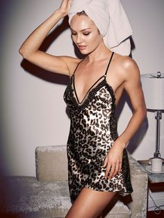 Wet hair, don't care. Totally focused on this luxe satin slip and, hello, the leopard print.   Victoria's Secret Satin Low-back Slip   pinterest : @tileeeeyahx3 ☼