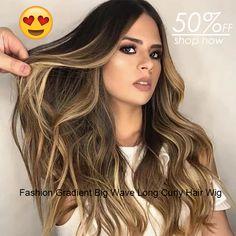 Women Fashion Wig Source by Wig Styles, Curly Hair Styles, Natural Hair Styles, Styles Courts, Long Curly Hair, Great Hair, Hair Designs, Cute Hairstyles, Hair Hacks