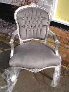 FRENCH LOUIS SILVER & GREY DIAMANTE CHIC FAUX SUEDE CHAIR