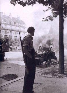 Robert Doisneau. Paris 1944 French Resistance. Place Saint-Michel (During the Liberation)