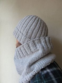 TRICOT: ensemble homme bonnet + snood.