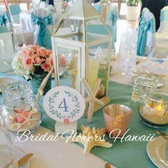 テーブル装花 ランタン スターフィッシュ 貝 砂 リトルマーメイド風 レセプションパーティー
