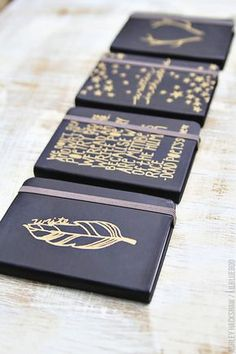 Fantastic diy journals: just use gold sharpies and little black notebooks. She traced out the designs. (and the way she wraps it is adorable!)  http://www.lilblueboo.com/2014/12/simple-sharpie-journals-and-matching-gift-wrap.html?utm_source=feedburner&utm_medium=email&utm_campaign=Feed:+LilBlueBoo+(Lil+Blue+Boo)&crlt.pid=camp.OidkB1YukdpK