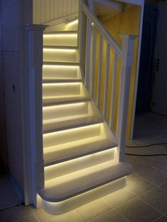 LED Light strips on stairway. LOVE IT!!!