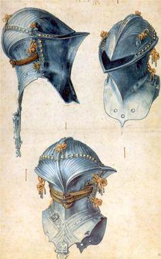 Three studies of a helmet by Albrecht Dürer, c. 1503
