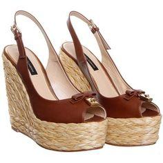 Dolce & Gabbana Brown Leather Wedge