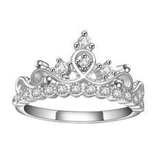 White Gold Plated Zircon Decoration Princess Crown Ring