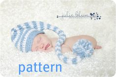 Stocking Cap Pattern, Crochet PDF Long Tail Baby Hat Pattern, Photography Prop, Instant Download