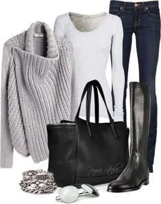 winter love. grey, white, black. denim, leather. jeans, sweater, boots. and a bag big enough to hold everything I need when it's cold outside.