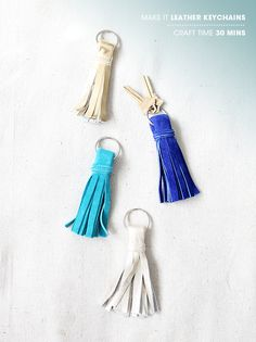 DIY / leather tassel keychains