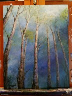 Donna's acrylic painting trees stretching to the sky