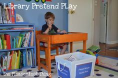 Library pretend play with free printables! #pretendplay #library #imagination #books