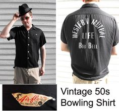 Vintage Mens Bowling Shirt 50s Black Rayon Gabardine by soulrust on etsy.com - $99.99   VCAT