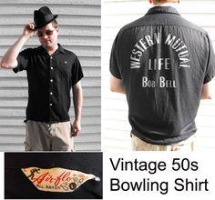 Vintage Mens Bowling Shirt 50s Black Rayon Gabardine by soulrust on etsy.com - $99.99   VCAT