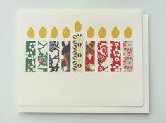 Hanukkah candles card made from scrap paper