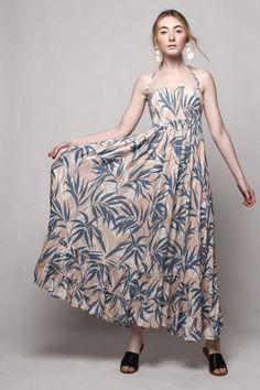 Smocked Halter Bohemian Maxi Dress - Tropical Print