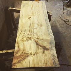 """3""""x23""""x62"""" Live edge slab for a vanity. Sand sand sand. Looking forward to applying the first coat. #woodwork #woodporn #woodworking #vanity #liveedgevanity #liveedge #pine #pineslab #finishcarpentry #finecarpentry #carpentry #chainsawmill #handcrafted #handmade #erwoodwork #bathroomvanity #customfurniture #customvanity de matthewricetto"""