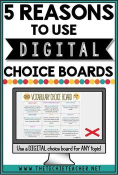 5 Reasons to Use Digital Choice Boards in the Classroom: Personalize learning with digital choice boards and activities. Great way to integrate technology into the classroom while providing a rich learning experience for a variety of learners. Teaching Technology, Educational Technology, Teaching Resources, Technology Tools, Teaching Strategies, Teaching Ideas, Business Technology, Medical Technology, Technology In Classroom