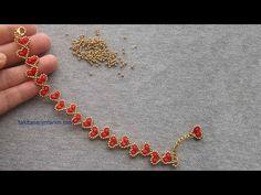 Heart Bracelet Making – DIY jewelry Beaded Bracelet Patterns, Beaded Bracelets, Diy Earrings Dangle, Bracelet Making, Jewelry Making, Seed Bead Jewelry, Diy Jewelry, Beads And Wire, Beading Tutorials