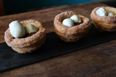 Churro Nests filled with Hazelnut Sauce and White Chocolate covered Horchata Cake Eggs