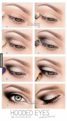 Trendy Makeup Tutorial Eyeshadow Hooded Eyelids Make Up Hooded Eye Makeup Tutorial, Easy Makeup Tutorial, Makeup Tutorial Blue Eyes, Brown Eyeshadow Tutorial, Smokey Eye Makeup Tutorial, Eye Makeup Tips, Skin Makeup, Makeup Ideas, Makeup Eyeshadow