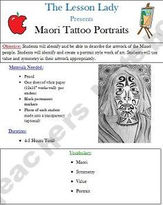 New Zealand Maori Tattoo Portrait Drawing Lesson Middle School Art, Art School, Tattoo Portrait, Tattoo Art, Whale Rider, Tattoo Addiction, School Projects, Art Projects, Maori Art